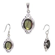 Dangle Labradorite 925 Sterling Silver Pendant Earring Jewelry Set SHPDS014 - $16.70