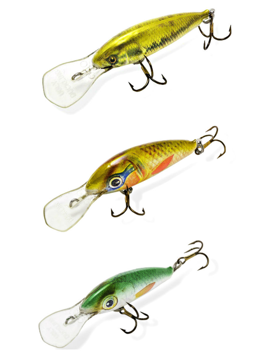 Ugly Duckling Fishing Lures Bass Trout lure 2 3//8 in balsa wood lure Walleye