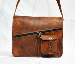 Leather satchel for mens shoulder laptop women messenger vintage brown b... - $55.04