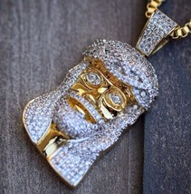 18K Gold Plated Iced Out Lab Diamond Mini Micro Jesus Piece Chain Necklace - £20.90 GBP