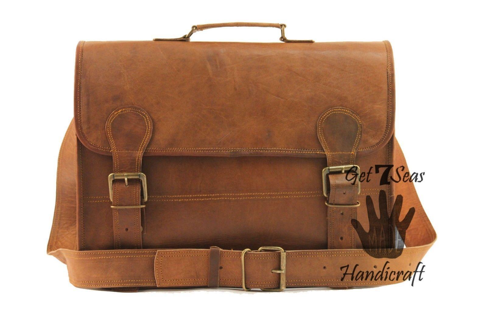 Leather messenger bag mens satchel shoulder laptop women briefcase vintage bags