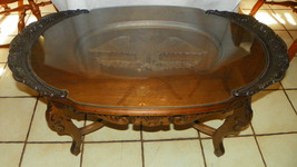 Walnut Eagle Carved Oval Coffee Table  (RP-CT29) - $599.00