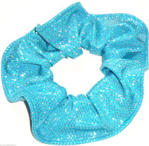 Teal Silver Foil Spandex Hair Scrunchie Scrunchies by Sherry Dancewear - $8.99