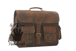 Leather briefcase mens satchel laptop men shoulder women computer genuin... - $59.99