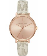 Michael Kors Ladies Jayne Rose Gold -Tone Vanilla Strap Watch  - MK7128 - $99.85