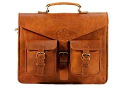 Laptop bag leather mens satchel shoulder laptop women briefcase men vint... - $59.99