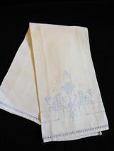 VTG Hand made white cotton linen Blue embroidery & cutwork tea towel Cloth - $19.80