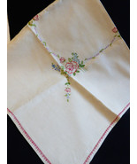 VTG Linen Embroidery Decor Accent Dining Table Cloth 52x48 flowers - $48.51