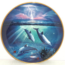 Storm of the Dolphins Collector Plate Franklin Mint Ocean Water Blue Lightning - $59.95