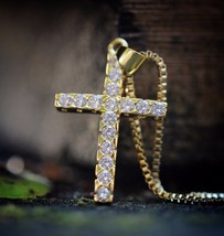 Mens Mini Gold Cross Pendant And Chain Necklace - £10.26 GBP