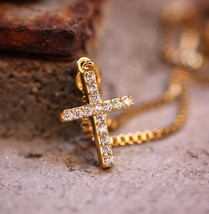 Mini Micro Gold Cross Pendant And Stainless Steel Chain Necklace - $14.39