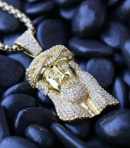 MINI MICRO JESUS PIECE FACE CHARM PENDANT GOLD PLATED NECKLACE HIP HOP C... - $27.48