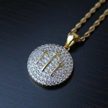 Men's Fully Iced Out Round Three Cross Jesus Piece Pendant Necklace - $23.99