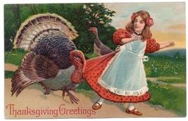 Turkey Pulling on Girls Skirt Vintage EmbossedThanksgiving Postcard PFB   - $6.69