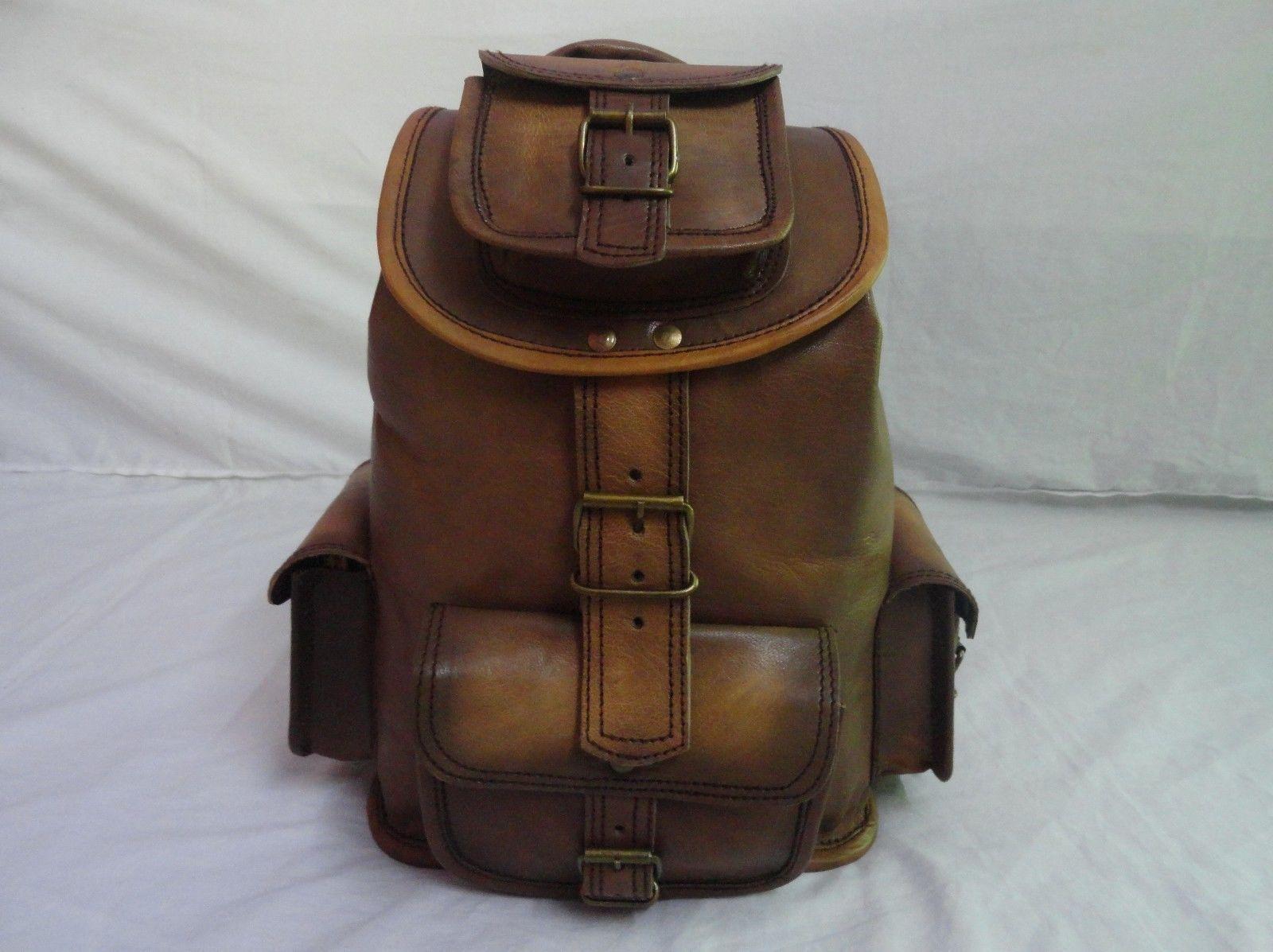 """13"""" High Vintage Leather Rucksack Handmade Backpack Shoulder Bag Book Bag"""