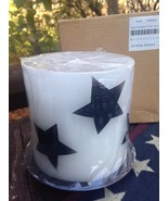 """At Home America Pillar Candle White Black Stars 4 3/4"""" Tall On Tray Unsc... - $6.92"""
