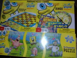 Spongebob Bingo Checkers and Panoramic Puzzle Bundle by Cardinal - $17.20