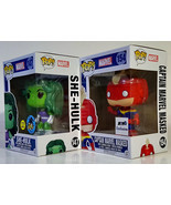 FUNKO POP She Hulk GiTD & Captain Marvel Masked Pop! MARVEL Exclusives 2016 - £31.45 GBP