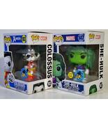 FUNKO POP Colossus Metallic & She Hulk GiTD Pop! MARVEL Comikaze Exclusi... - $52.24
