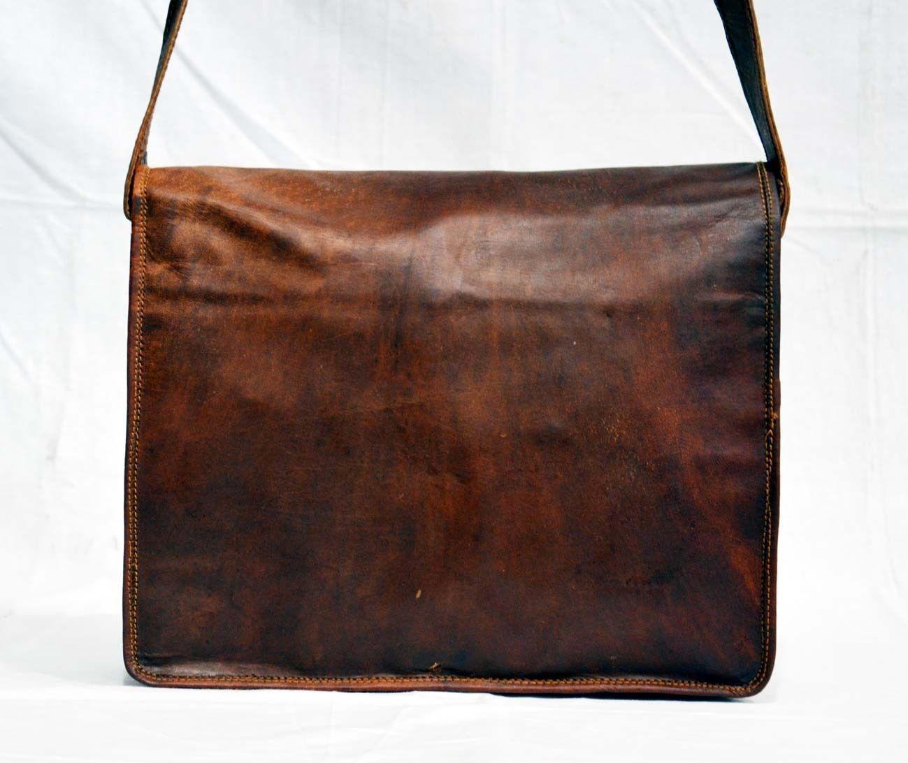 Leather satchel for mens shoulder laptop women messenger vintage brown bags men
