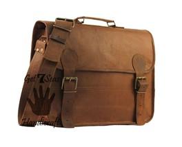 Leather messenger bag mens satchel shoulder laptop women briefcase vintage bags image 2