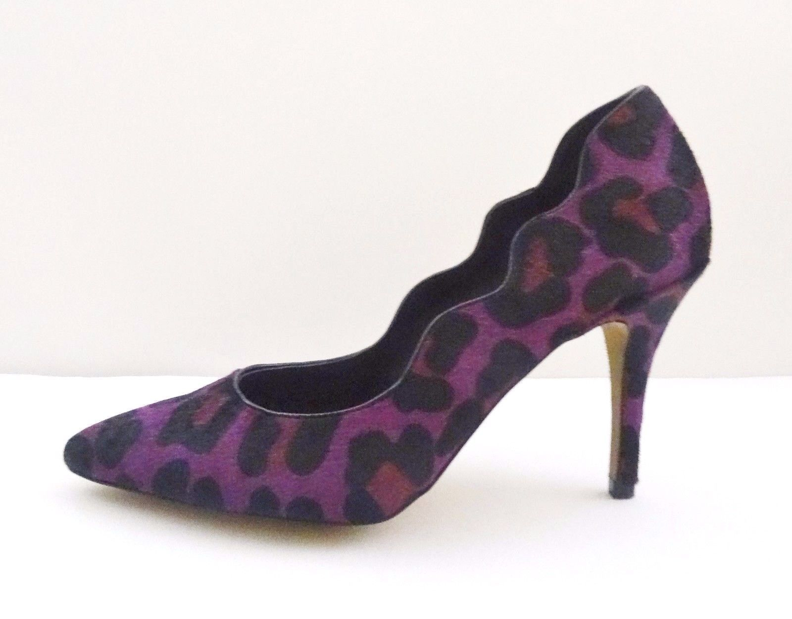 NIB Betsey Johnson Pointed Toe Scalloped Genuine Calf Pump Shoes Sz 7.5 Purple
