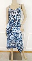 Nwt ECI Trapeze Sleeveless Floral Border Strappy Shift Dress M Medium Bl... - $57.37