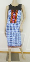 Nwt ECI Sleeveless Illusion Yoke Border Print Sheath Dress Sz S Small Bl... - $57.37
