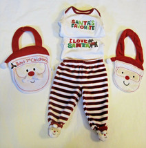 Baby's First Christmas Santa Claus Footed Pants Bodysuit Bibs 3 mo 5 PC Lot - $12.00