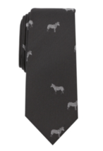 BAR III Men's Zebra Cow Skinny Neck Tie Black  - $54.45