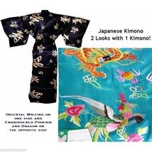 New One Sz Box Sleeves Japanese Kimono Sky Blue Reversible Housecoat Uni... - $49.49