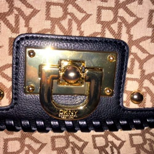 NWOT DKNY Black Leather & Canvas Handbag Doctor Purse Gold Hardware $275 Retail