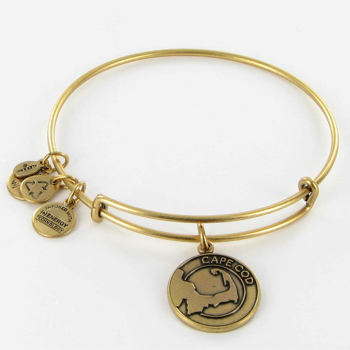Alex and Ani Cape Cod Map Charm Expandable EWB Bracelet Russian Gold NWOT