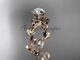 Unique diamond celtic trinity knot engagement ring, 14kt rose gold diamo... - $675.00