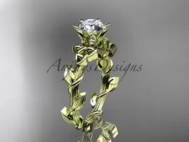 Unique diamond celtic trinity knot engagement ring, 14kt white gold diam... - $675.00