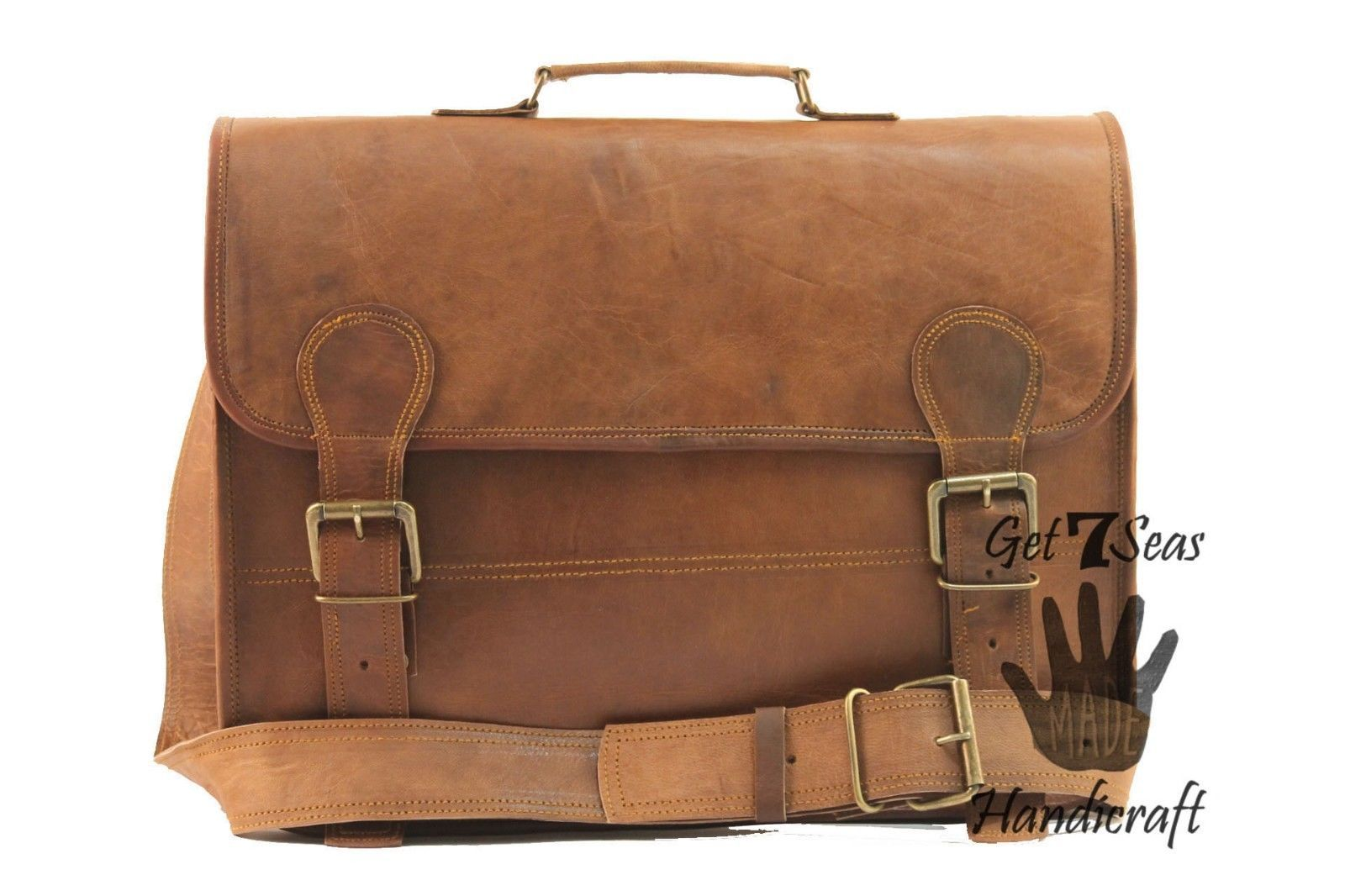Leather messenger bag mens satchel shoulder laptop women briefcase vintage bags image 3