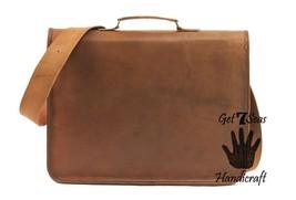 Leather messenger bag mens satchel shoulder laptop women briefcase vintage bags image 5