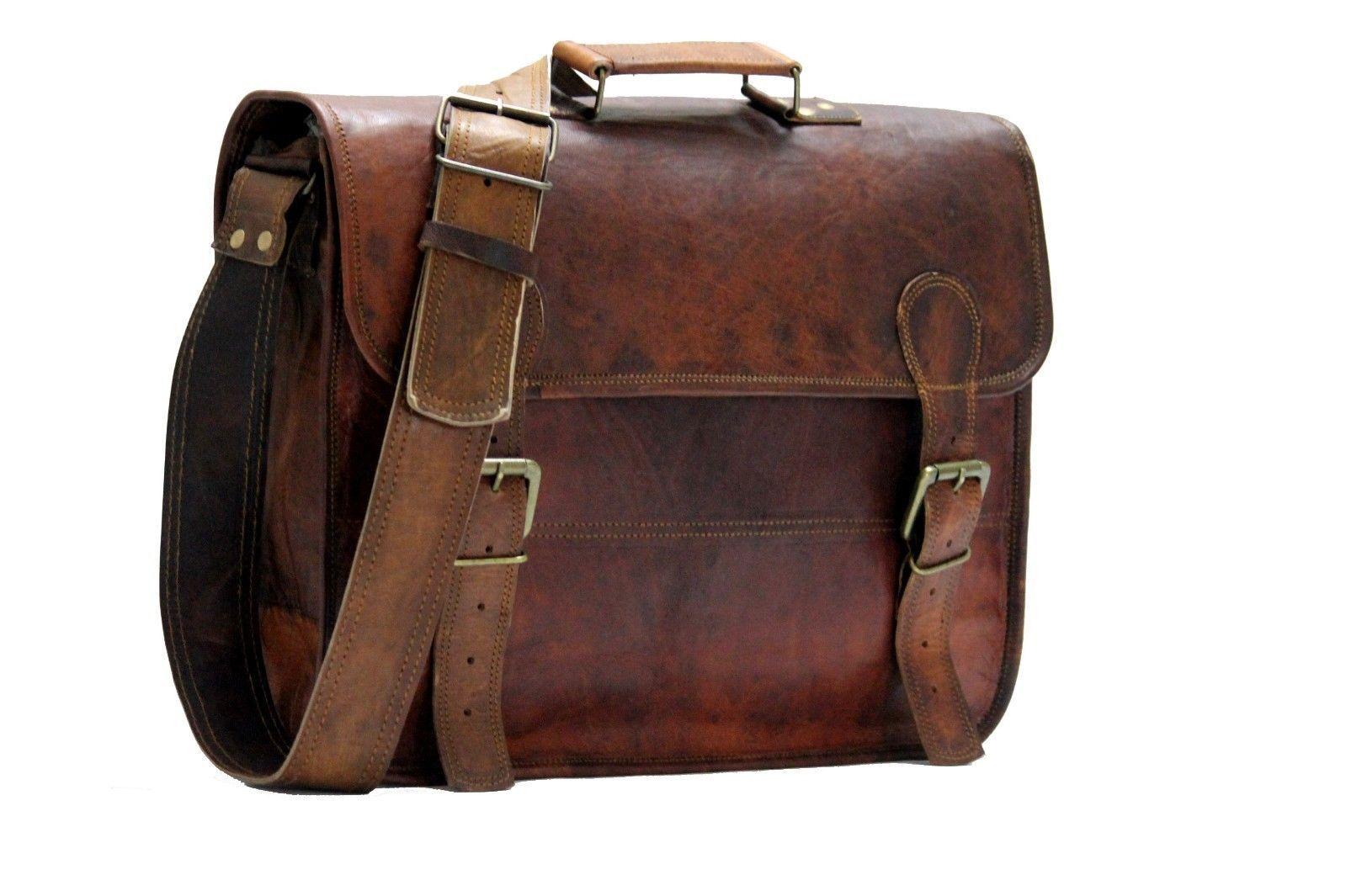 Leather messenger bag mens satchel shoulder laptop women briefcase vintage bags image 6