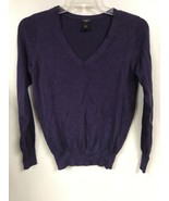 Ann Taylor Womens LARGE Purple Sweater V-Neck Long Sleeve Wool Blend  - $19.79