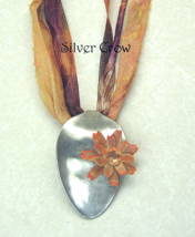 Silverware Spoon Bowl Metal Flower Sari Silk Necklace - $16.99