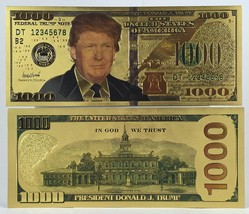 Donald Trump Dollar Bill Gold Plated 24K Presidential Collectible Bank N... - $24.95