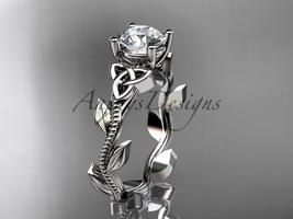 14kt white gold celtic trinity knot engagement ring, Moissanite, CT7238 - $875.00