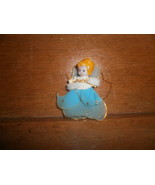 Old Wire Angel Christmas Ornament , Plastic Face ,  Blue Sheer Material - $5.00