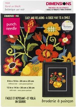 "Dimensions Punch Needle Kit 10""X8""-Floral On Black - $21.90"