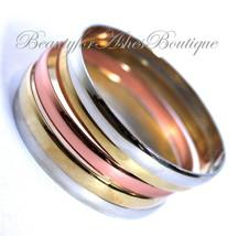 Womens Glam Polished Tritone Metal Rosegold Gold Silver Bangle Bracelet ... - $4.03