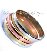 Womens Glam Polished Tritone Metal Rosegold Gold Silver Bangle Bracelet ... - $8.06