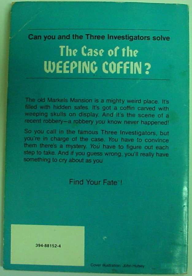 Three Investigators The Case of the Weeping Coffin FYF RH#1 no bar code on back
