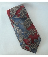 CC Courtenay Red Blue Gray Neck Tie 100% Silk Paisley Floral Mens Neckwear - $28.00