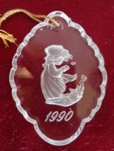 PRECIOUS MOMENTS LEAD CRYSTAL 1990 CHRISTMAS ORNAMENT (#1827)  - $12.99