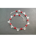 Red Beaded Bead Necklace With Frosted White Dangling Beads - $80.00